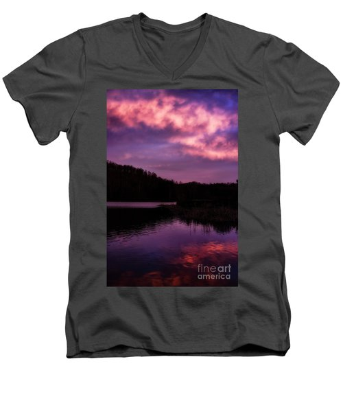 Men's V-Neck T-Shirt featuring the photograph Dawn Big Ditch Wildlife Management Area by Thomas R Fletcher