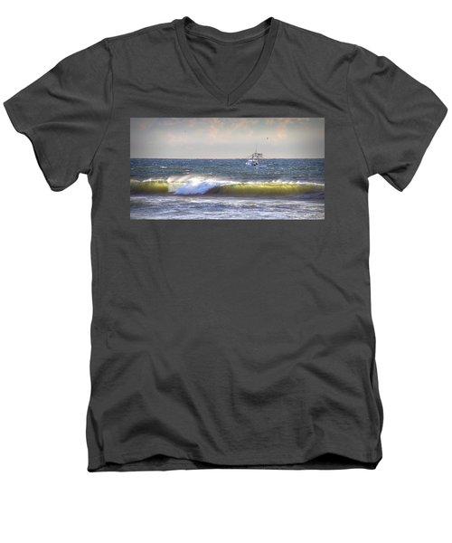 Men's V-Neck T-Shirt featuring the photograph Dawn Fishermen by Phil Mancuso