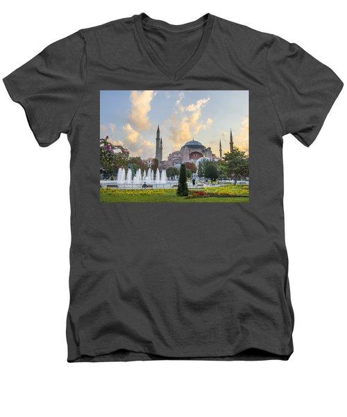 Dawn Hagia Sophia Istanbul Men's V-Neck T-Shirt by Sally Ross