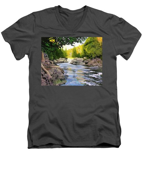 Dawn On The River Men's V-Neck T-Shirt