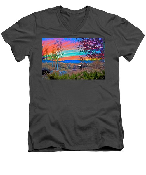 Dawn In El Prado  Men's V-Neck T-Shirt