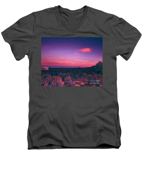 Dawn In Taos Men's V-Neck T-Shirt