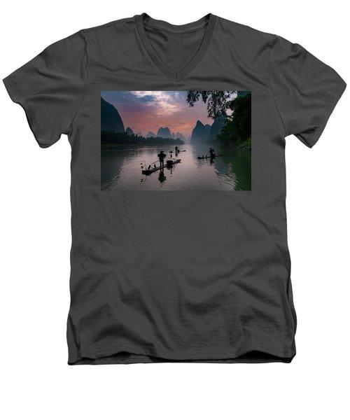 Waiting For Sunrise On Lee River. Men's V-Neck T-Shirt