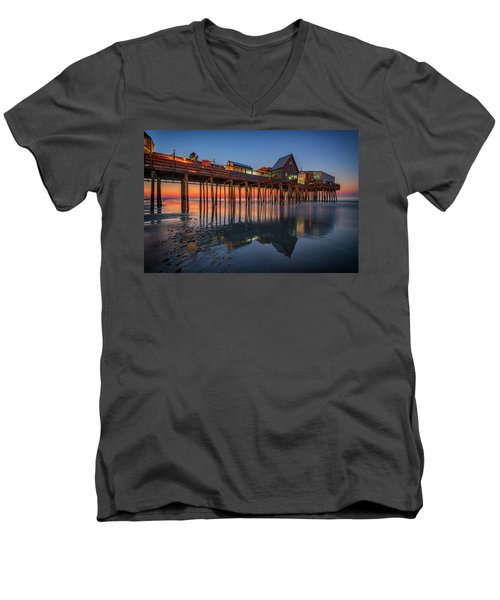 Men's V-Neck T-Shirt featuring the photograph Dawn On Old Orchard Beach by Rick Berk