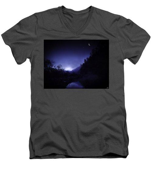Dawn On The Lower Mountain Fork River Men's V-Neck T-Shirt