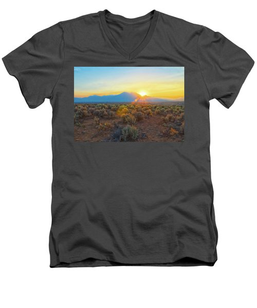 Dawn Over Magic Taos Mountain Men's V-Neck T-Shirt