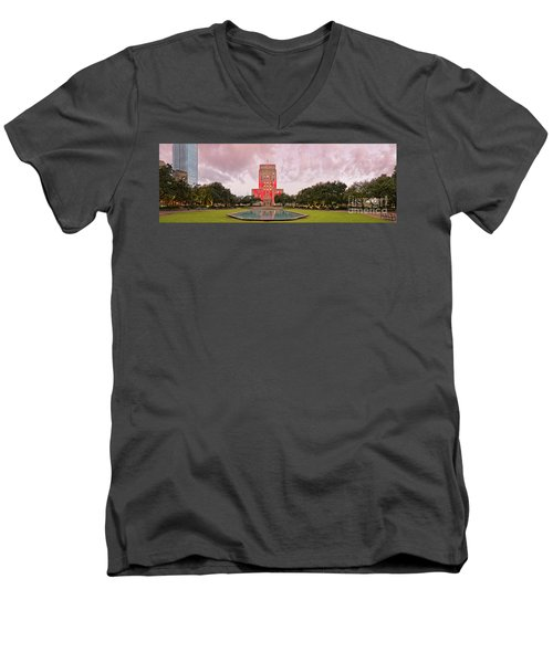 Dawn Panorama Of Houston City Hall At Hermann Square - Downtown Houston Harris County Men's V-Neck T-Shirt