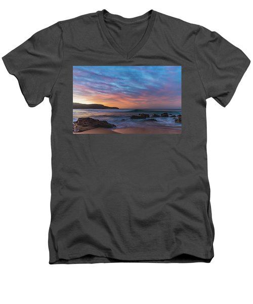 Dawn Seascape With Rocks And Clouds Men's V-Neck T-Shirt