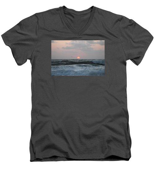 Men's V-Neck T-Shirt featuring the photograph Dawn's Crashing Seas by Robert Banach