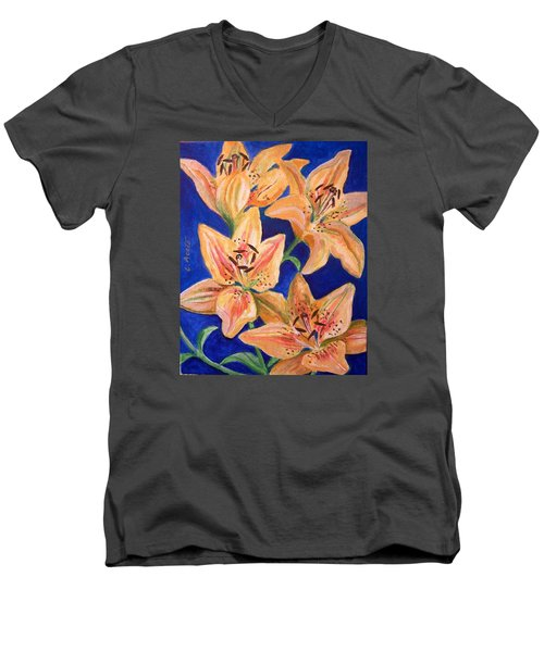 Day Lilies Men's V-Neck T-Shirt by Laura Aceto