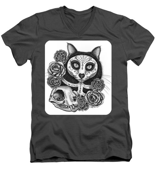 Men's V-Neck T-Shirt featuring the drawing Day Of The Dead Cat Skull - Sugar Skull Cat by Carrie Hawks