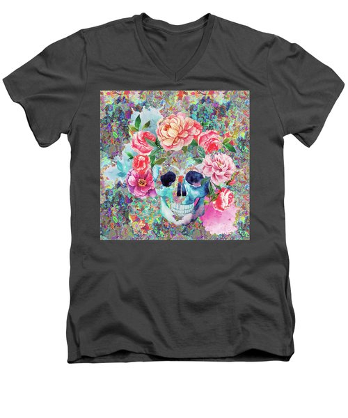 Day Of The Dead Watercolor Men's V-Neck T-Shirt