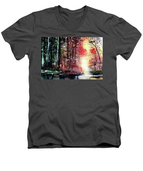Daybreak 2 Men's V-Neck T-Shirt by Anil Nene