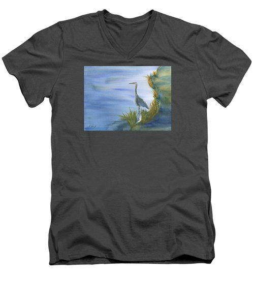 Daybreak With A Great Blue Heron  Men's V-Neck T-Shirt by Frank Bright