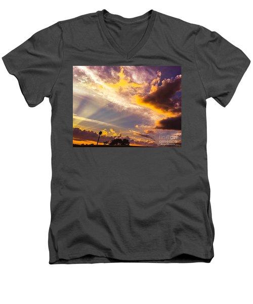 Daybreak Men's V-Neck T-Shirt by MaryLee Parker