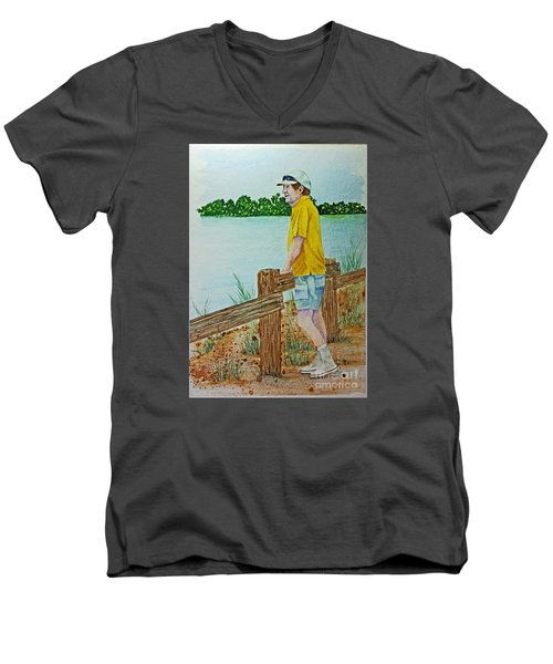 Men's V-Neck T-Shirt featuring the painting Daydreaming by Terri Mills