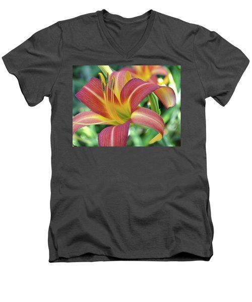 Daylilies At Daybreak Men's V-Neck T-Shirt by Rebecca Overton