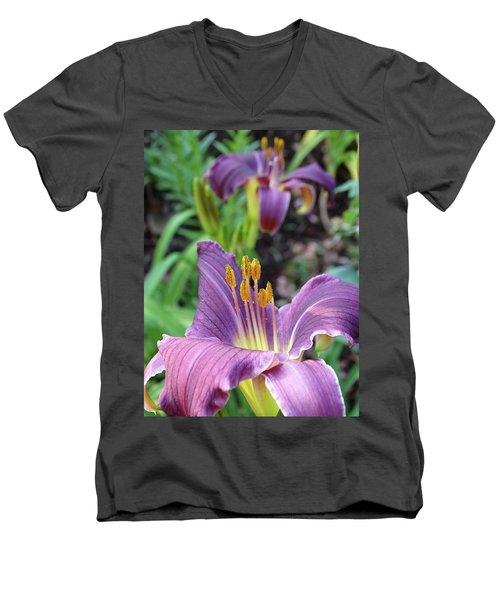 Daylilies In Purple Men's V-Neck T-Shirt by Rebecca Overton