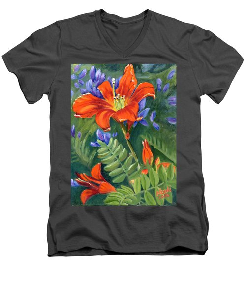 Men's V-Neck T-Shirt featuring the painting Daylilies by Renate Nadi Wesley
