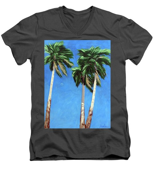 Men's V-Neck T-Shirt featuring the painting Daytime Moon In Palm Springs by Linda Apple