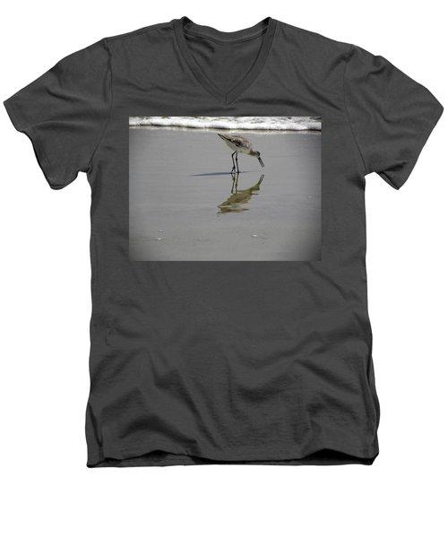 Daytona Beach Shorebird Men's V-Neck T-Shirt by Chris Mercer