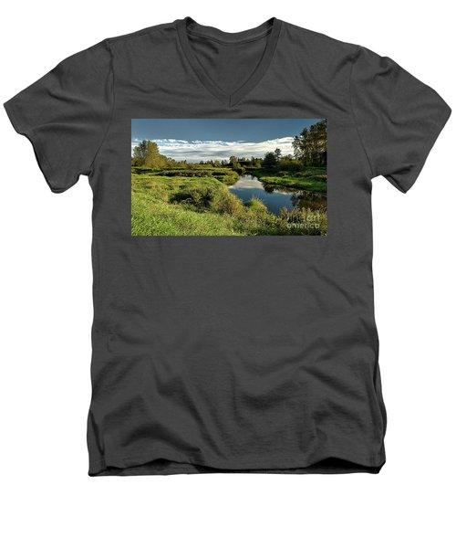 De Boville Slough At Pitt River Dike Men's V-Neck T-Shirt by Rod Jellison