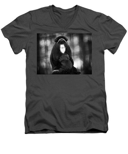 De Brazza's Monkey Men's V-Neck T-Shirt by Jason Moynihan