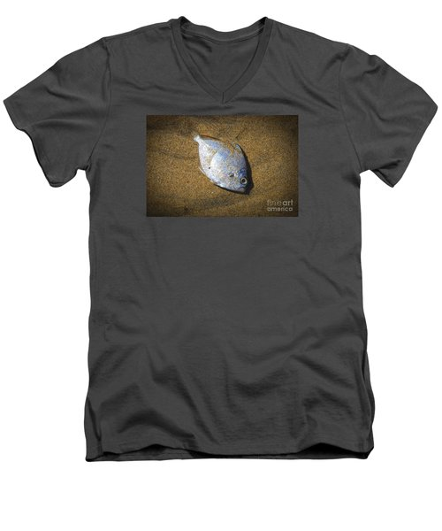 Dead Fish On The Beach Men's V-Neck T-Shirt by Perry Van Munster
