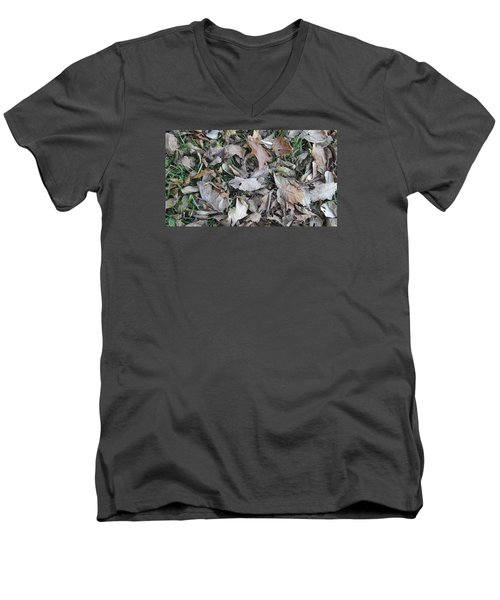 Men's V-Neck T-Shirt featuring the mixed media Dead Leaves by Don Koester