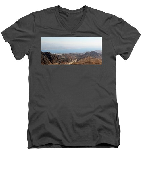 Men's V-Neck T-Shirt featuring the photograph Dead Sea-israel by Denise Moore