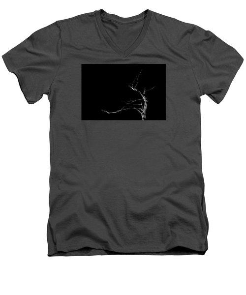 Dead Tree On Black Background Men's V-Neck T-Shirt