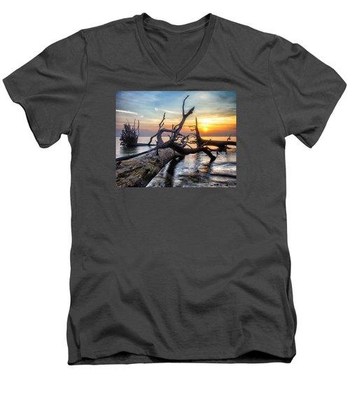 Deadwood Morning Men's V-Neck T-Shirt by Alan Raasch