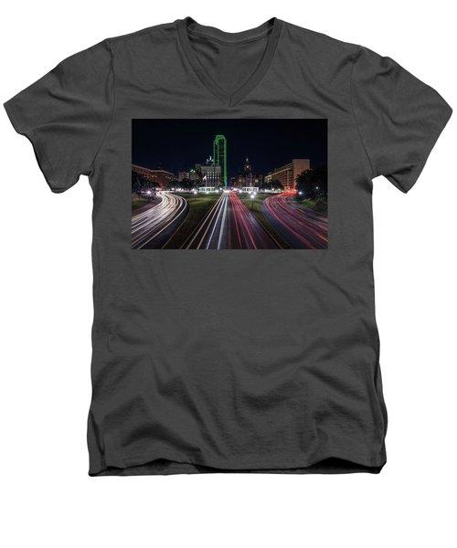 Dealey Plaza Dallas At Night Men's V-Neck T-Shirt