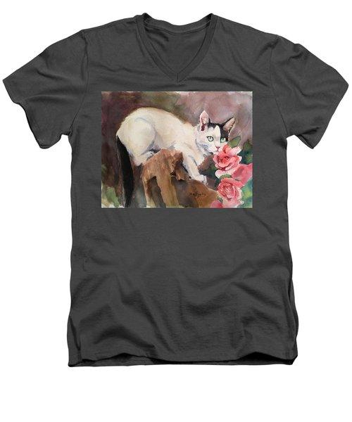 Deano In The Roses Men's V-Neck T-Shirt