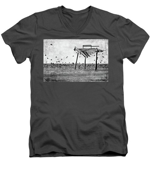 Men's V-Neck T-Shirt featuring the photograph Death Of A Friend - Frisco Pier Outer Banks Bw by Dan Carmichael