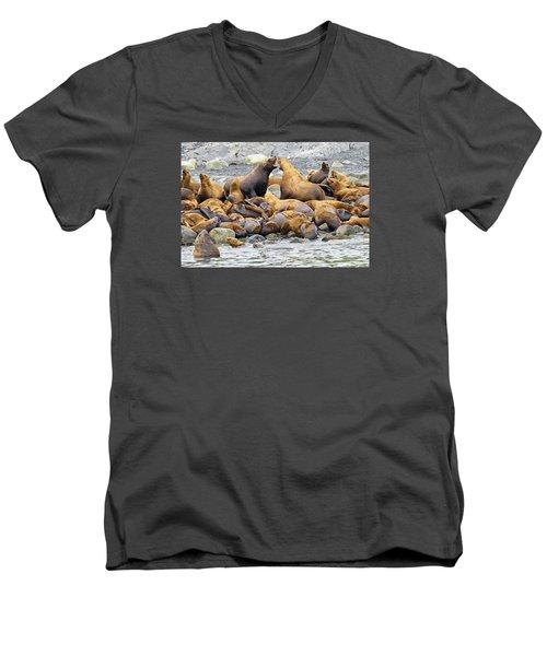 Debate Men's V-Neck T-Shirt by Harold Piskiel