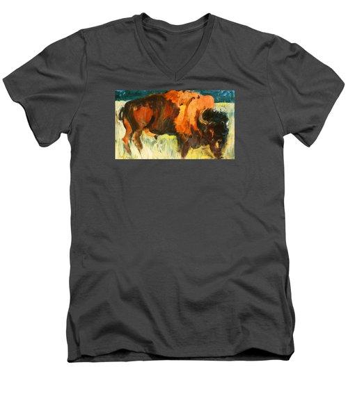 Debbie's Postcard Buffalo Men's V-Neck T-Shirt