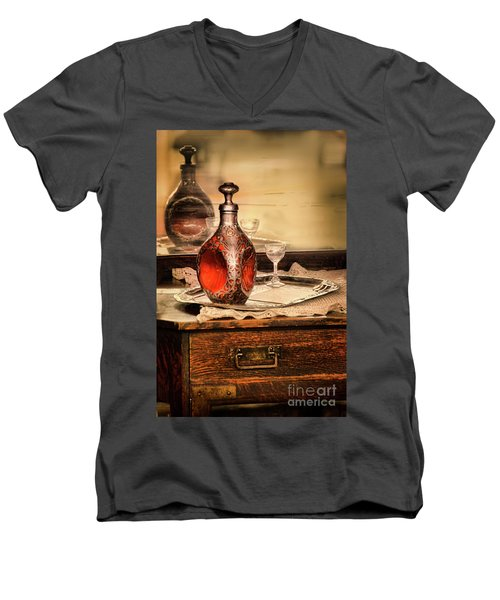 Men's V-Neck T-Shirt featuring the photograph Decanter And Glass by Jill Battaglia
