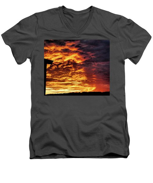 Men's V-Neck T-Shirt featuring the painting December Austin Sunset  by Layne William LoMaglio