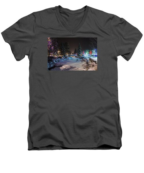 Men's V-Neck T-Shirt featuring the photograph December On The Riverwalk by Perspective Imagery