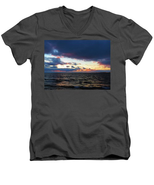 December Sunset, Wolfe Island, Ca. View From Tibbetts Point Lighthouse Men's V-Neck T-Shirt