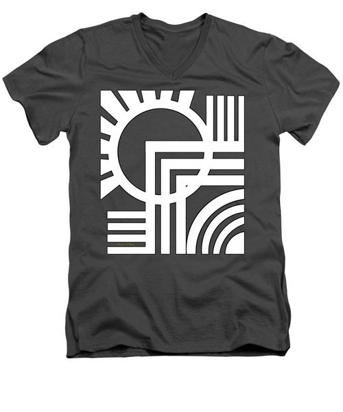 Men's V-Neck T-Shirt featuring the digital art Deco Design White by Chuck Staley