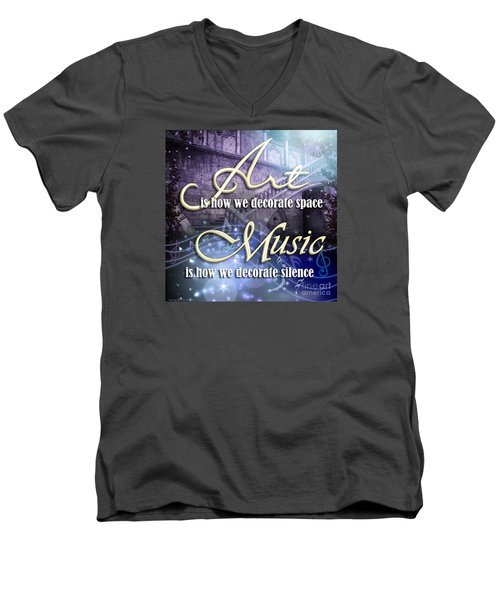 Men's V-Neck T-Shirt featuring the digital art Decorate by Evie Cook