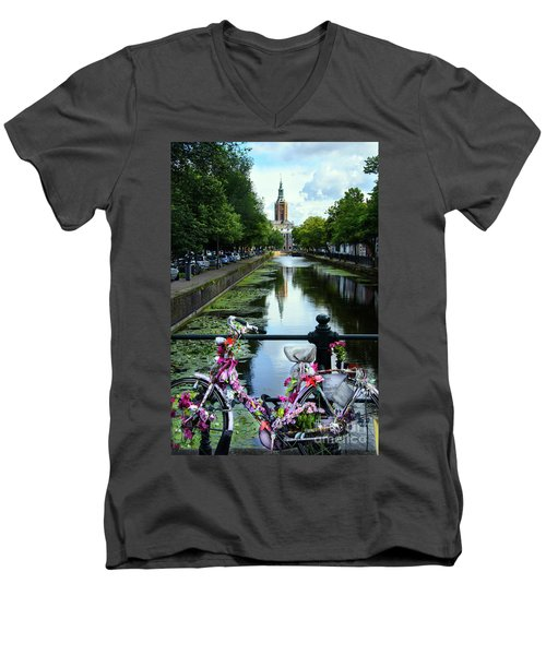 Men's V-Neck T-Shirt featuring the photograph Canal And Decorated Bike In The Hague by RicardMN Photography