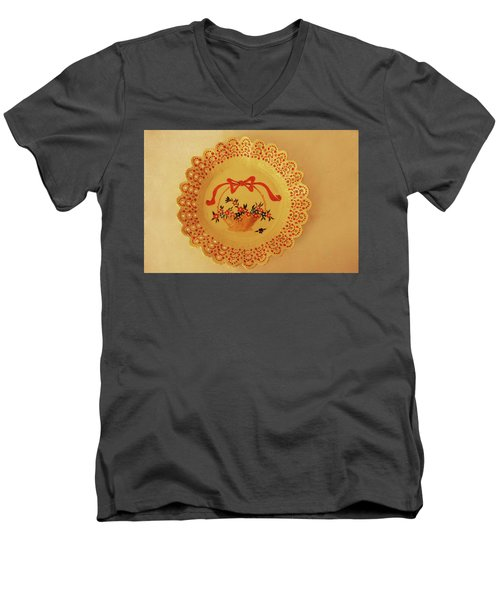 Men's V-Neck T-Shirt featuring the photograph Decorated Plate With A Basket And Flowers by Itzhak Richter