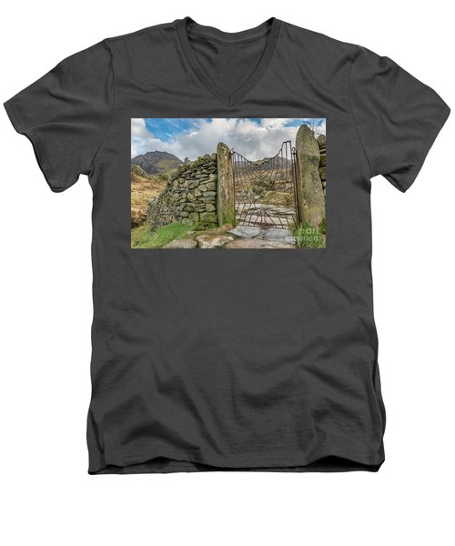 Men's V-Neck T-Shirt featuring the photograph Decorative Gate Snowdonia by Adrian Evans
