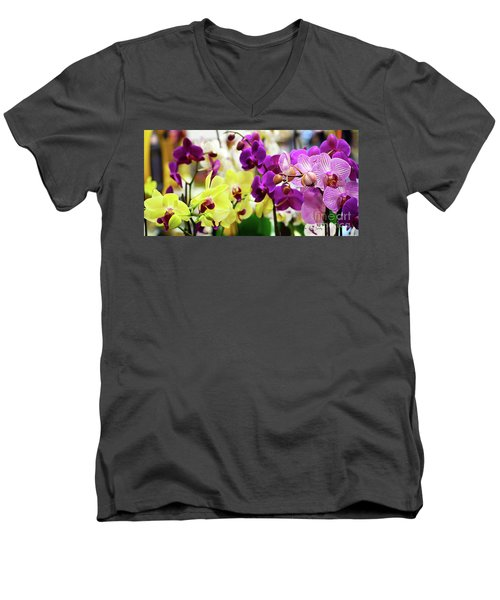 Decorative Orchids Still Life C82418 Men's V-Neck T-Shirt