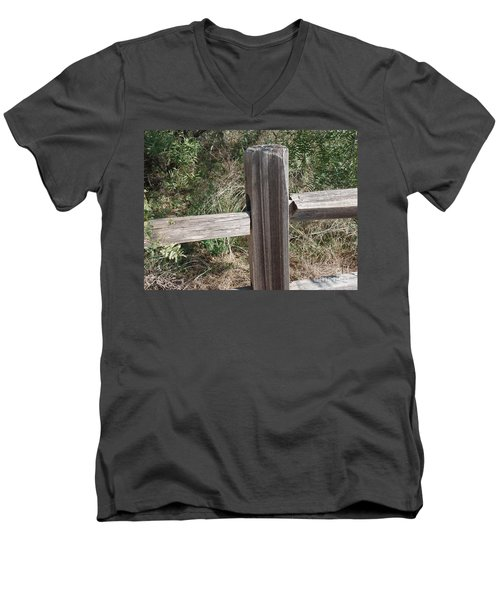 Men's V-Neck T-Shirt featuring the photograph Decorative View - Central Texas Fence Line by Ray Shrewsberry