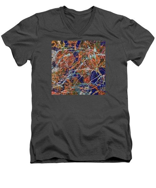 Deep Blue  Men's V-Neck T-Shirt by Erika Pochybova