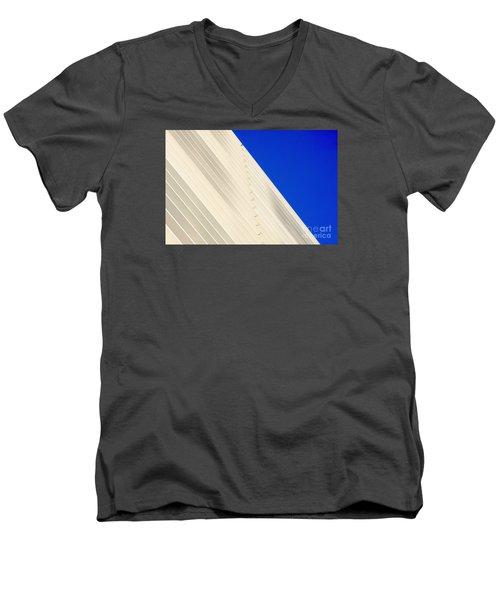 Deep Blue Sky And Office Building Wall Men's V-Neck T-Shirt
